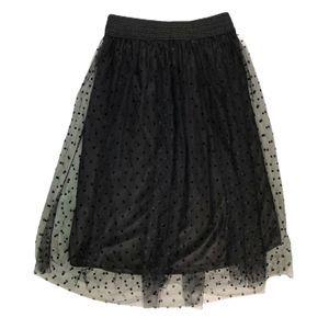 Metro Wear Black Lace Polka Dot Dancer Style Skirt